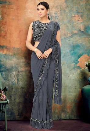Pre-stitched Lycra Ruffled Saree in Grey