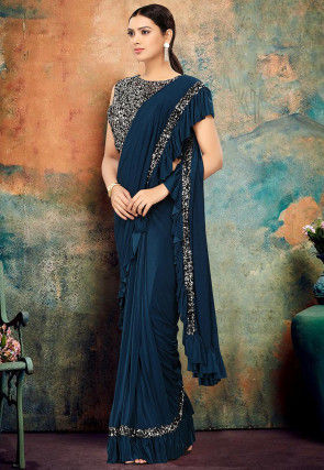 Pre-stitched Lycra Ruffled Saree in Teal Blue