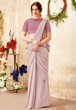 Pre-stitched Lycra Saree in Baby Pink