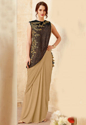 Pre-stitched Lycra Saree in Beige