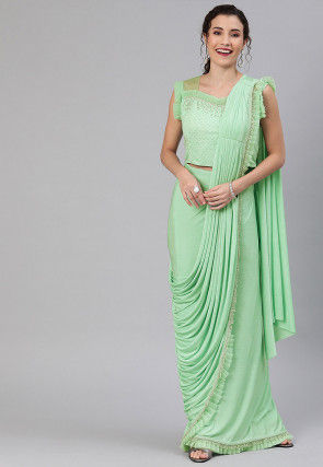 Pre-stitched Lycra Saree in Light Green
