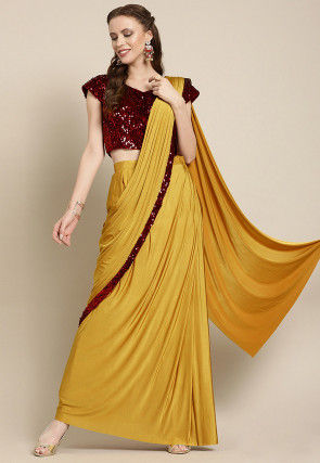 Pre-stitched Lycra Saree in Mustard
