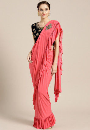 Pre-stitched Lycra Saree in Red