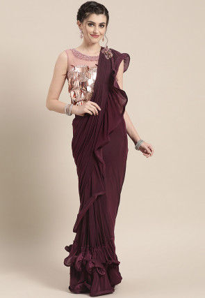Pre-stitched Lycra Saree in Wine