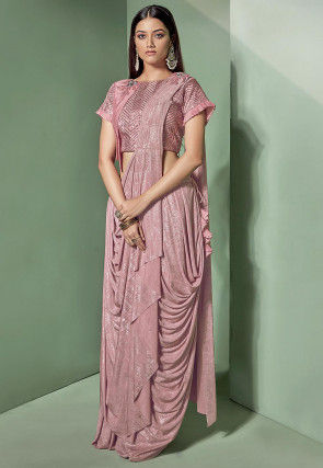 Pre-Stitched Lycra Shimmer Corsaged Saree in Pink