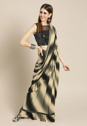 Pre-stitched Lycra Shimmer Saree in Black and Beige