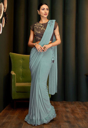 Pre-stitched Lycra Shimmer Saree in Dusty Blue