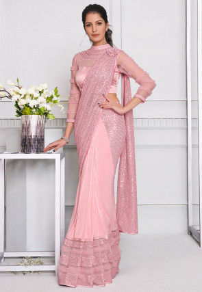 Prestitched Net Corsaged Saree in Light Pink