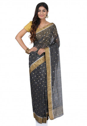 Pre-Stitched Pure Chanderi Silk Saree in Charcoal Black