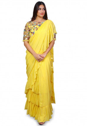 Prestitched Pure Georgette Saree in Yellow