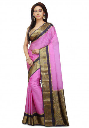 Pre-stitched Pure Mysore Crepe Silk Saree in Pink