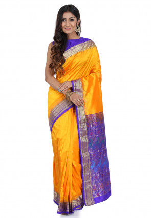 Pre-Stitched Pure Paithani Silk Saree in Yellow
