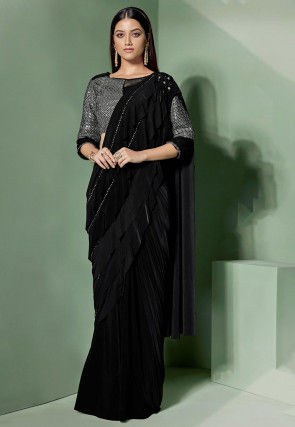 Pre-Stitched Ruffled Lycra Corsaged Saree in Black
