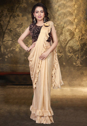 Prestitched Ruffled Lycra Saree in Beige