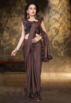 Prestitched Ruffled Lycra Saree in Brown