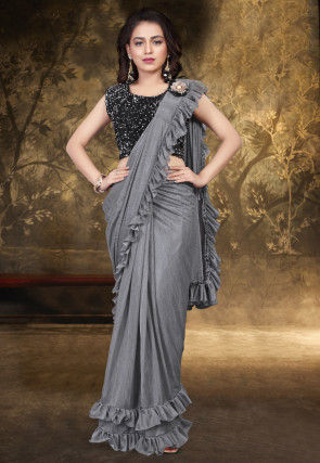 Prestitched Ruffled Lycra Saree in Grey