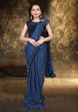 Prestitched Ruffled Lycra Saree in Navy Blue