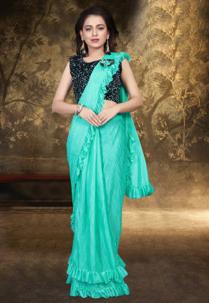Prestitched Ruffled Lycra Saree in Sea Green