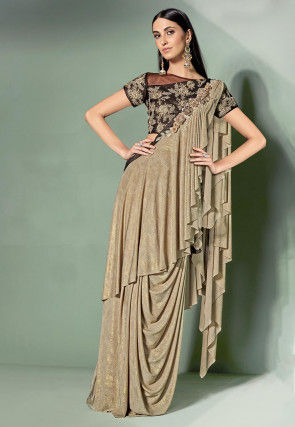 Pre-Stitched Ruffled Lycra Shimmer Corsaged Saree in Beige