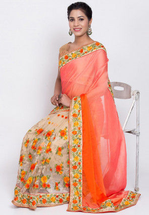 Pre-Stitched Satin Chiffon Saree in Peach and Beige
