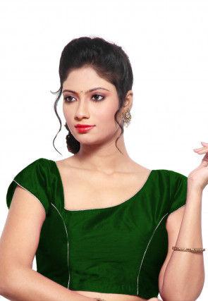 Princess Cut Dupion Silk Padded Blouse in Dark Green