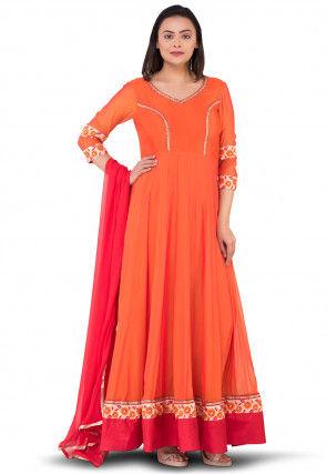 Princess Cut Georgette Abaya Style Suit in Orange