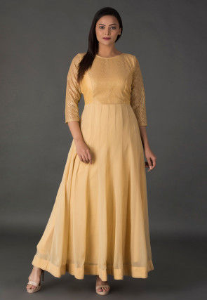 Princess Cut Georgette Anarkali Kurta in Beige