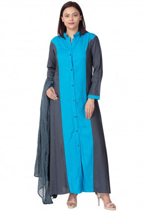 Princess Cut Rayon Abaya Style Suit in Light Blue and Grey
