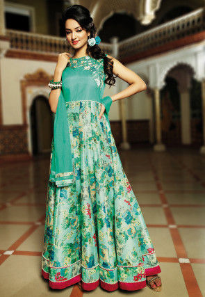 Printed Abaya Style Bhagalpuri Suit in Sea Green