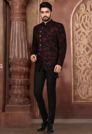 Printed Acrylic Cotton Suit Set in Maroon and Black