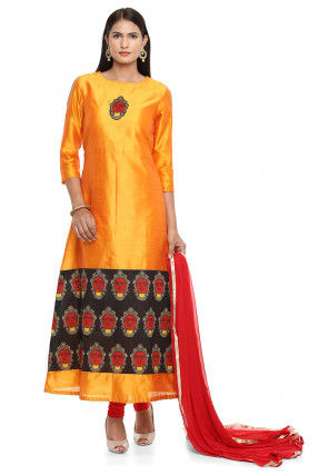 Printed Art Bhagalpuri Silk A Line Suit in Orange