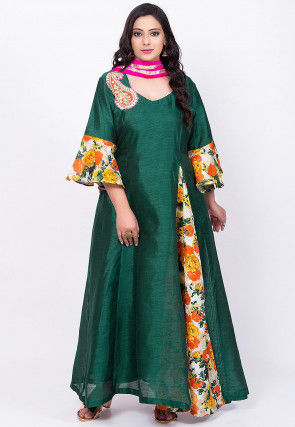 Printed Art Bhagalpuri Silk Abaya Style Suit in Dark Green