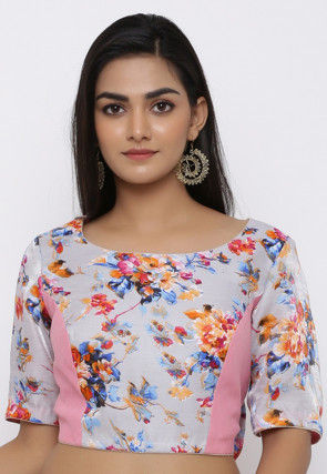 Printed Art Bhagalpuri Silk Blouse in Grey and Multicolor