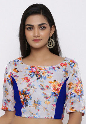 Printed Art Bhagalpuri Silk Blouse in Light Grey and Royal Blue