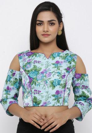 Printed Art Bhagalpuri Silk Blouse in Sea Green