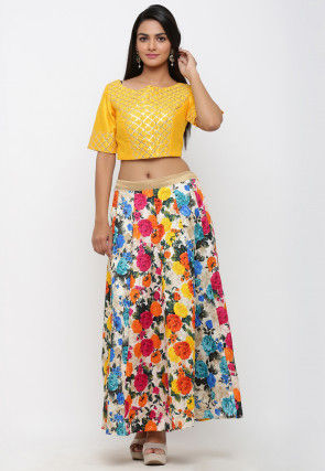Printed Bhagalpuri Silk Crop Top with Skirt in Multicolor and Yellow