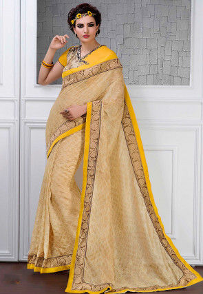 Printed Art Bhagalpuri Silk Saree in Beige