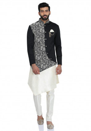 Printed Art Jacquard Silk Kurta Jacket Set in Off White and Black