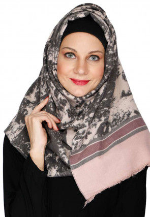 Printed Art Pashmina Silk Hijab in Light Grey and Dusty Pink