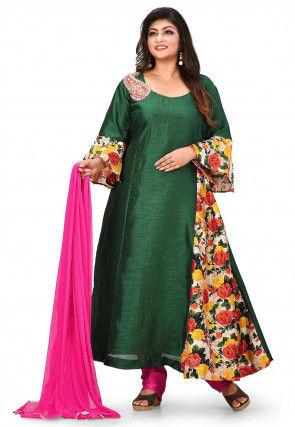 Printed Art Silk A Line Suit in Dark Green