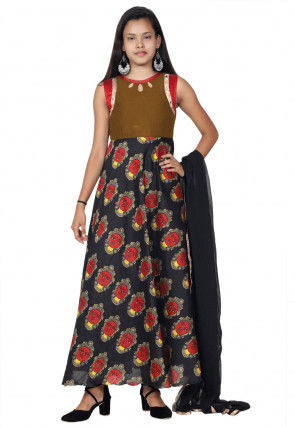 Printed Art Silk Abaya Style Suit in Black and Brown