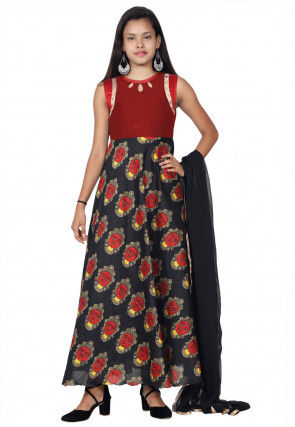 Printed Art Silk Abaya Style Suit in Black and Red