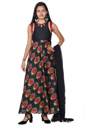 Printed Art Silk Abaya Style Suit in Black
