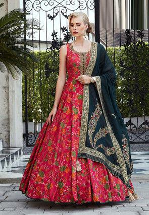 Printed Art Silk Abaya Style Suit in Fuchsia