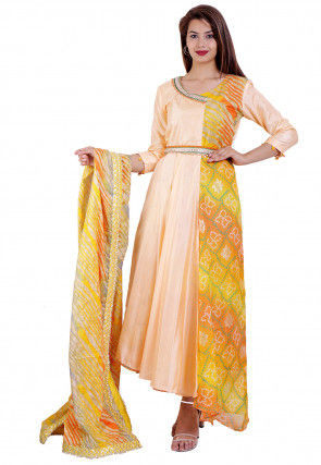 Printed Art Silk Abaya Style Suit in Light Peach and Multicolor