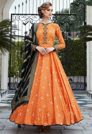 Printed Art Silk Abaya Style Suit in Orange