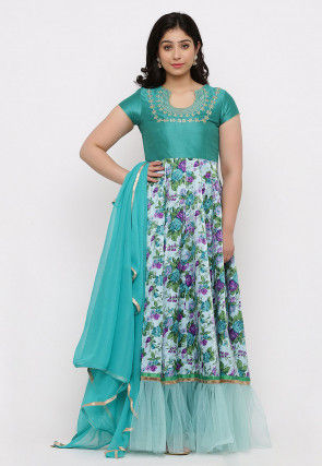 Printed Art Silk Abaya Style Suit in Sky Blue and Teal Green