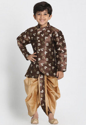 Printed Art Silk Asymmetric Dhoti Sherwani in Dark Brown