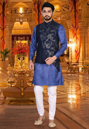 Printed Art Silk Asymmetric Nehru Jacket in Dark Blue