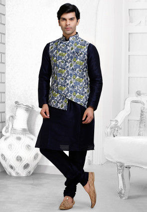 Printed Art Silk Asymmetric Nehru Jacket in Off White and Blue